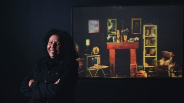 Melbourne artist Maree Clarke with her photographic hologram Made from Memory (Nan's House).