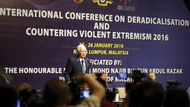 Malaysian Prime Minister Najib Razak at a conference on combating extremism earlier this year.