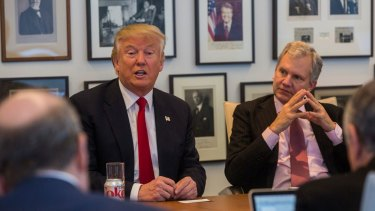 President-elect Donald Trump held a meeting with Arthur Sulzberger jnr, right, publisher of  <i>The New York Times</i>, along with reporters, editors and columnists from the paper.