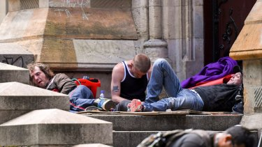 Some of  the homeless people from Flinders Street were camped at St Paul's Cathedral last month.