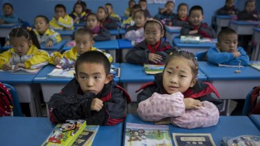 Children at a primary school in Qapqal, China.