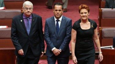 Senator Brian Burston and Senator Pauline Hanson welcomed Senator Peter Georgiou to the Senate, as he  replaced Rod Culleton as WA in March.