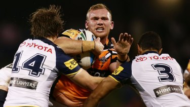 Troubled past: Matthew Lodge during his brief NRL stint with the Tigers.