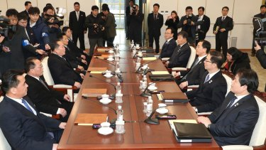 The two Korean' delegations meet on Tuesday.
