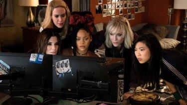 From foreground left, Sandra Bullock, Sarah Paulson, Rihanna, Cate Blanchett and Awkwafina in Ocean's 8.