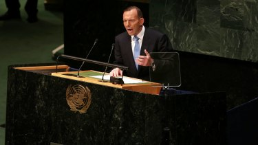 Prime Minister Tony Abbott, pictured at the UN General Assembly in New York last year, has been criticised in the US for his policies on asylum seekers.