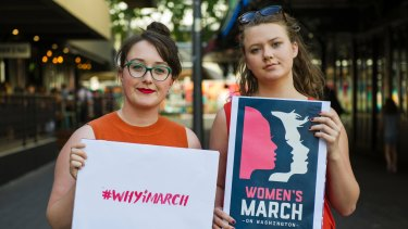 Coordinators of Women's March in Canberra, Codie Bell and Lizzy O'Shea.