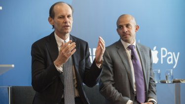 ANZ CEO Shayne Elliott at the April launch of Apple Pay with products and marketing MD Matt Boss.