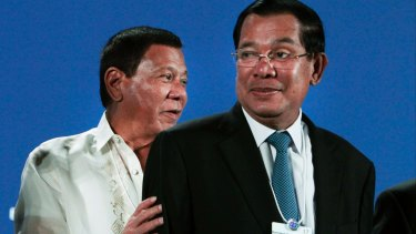 Strongmen: Philippine President Rodrigo Duterte, left, and Cambodian PM Hun Sen, right, in Phnom Penh, earlier this month.