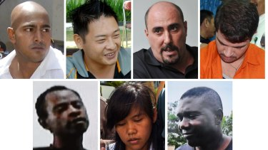 Five of the seven foreign death -ow prisoners pictured were executed this week. Top row from left, Australians Myuran Sukumaran and Andrew Chan, Frenchman Serge Atlaoui whose appeal is still in process, and Brazilian Rodrigo Gularte. Bottom row from left. Nigerian Raheem Agbaje Salami, Filipina Mary Jane Fiesta Veloso whose process is pending, and Nigerian Silvester Obiekwe Nwolise.