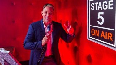 Shayne Warne, fighting a losing battle on Chris & Julia's Sunday Night Takeaway.