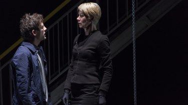 Aaron Orzech and Jane Montgomery Griffiths in <i>Antigone</i>.