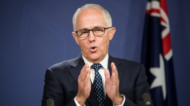 Malcolm Turnbull emphasises a point during his media conference to announce his minimalist cabinet reshuffle.