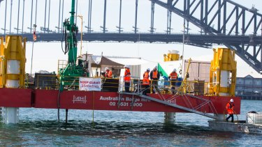 The Geotech barge, which will drill into the harbour.