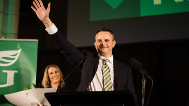 James Shaw celebrating with his fellow party members at the Greens electrate party. .