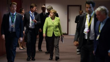 German Chancellor Angela Merkel arrives for the first of a two of a two day European Council summit on June 22.