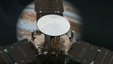 A model of NASA's solar-powered Juno spacecraft is displayed at the Jet Propulsion Laboratory in Pasadena, California.