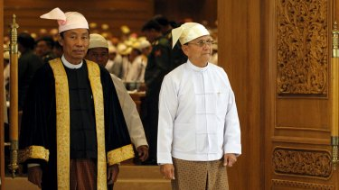 Dangerous rift: Shwe Mann (left), speaker of Myanmar's lower house, has been at odds with Myanmar President Thein Sein (right) over the future of the presidency.