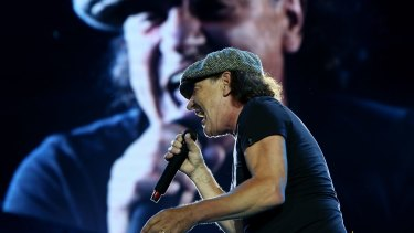 Stepping back from live gigs ... Brian Johnson kicking off AC/DC's Rock or Bust tour in Sydney last November.