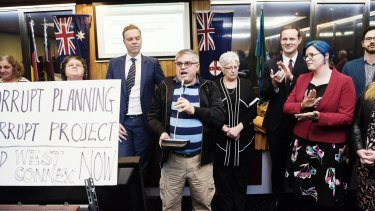 Former mayors and councillors addressed the crowd after the first meeting of the newly-formed Inner West Council was cancelled.