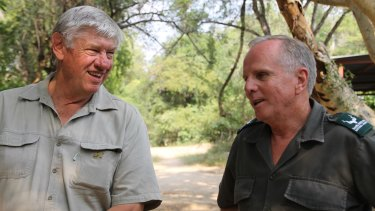 Ray Dearlove, left, with Major-General Johan Jooste, the South African government's anti-poaching head.