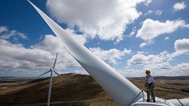 A wind turbine in Bungendore, NSW.