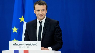 Emmanuel Macron as results of the first round of the French presidential election are projected.