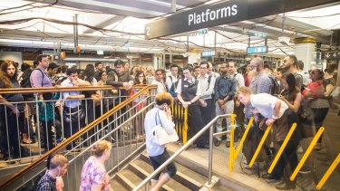 Commuters were temporarily prevented from entering platforms at Town Hall Station on Tuesday evening.