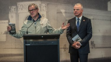 Masters with the director of the Australian War Memorial, Dr Brendan Nelson, at the launch of the DVD of