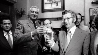 Then prime minister Gough Whitlam at Trades Hall, Sydney in 1974 with future prime minister Bob Hawke. Whitlam brought economists into his administration, while the advice of experts guided economic policy during Hawke's leadership in the 1980s.
