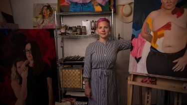 Kim Leutwyler, in her Redfern studio, is hopeful the art industry will improve.