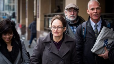 Kathy Clubb, in glasses, outside the Melbourne Magistrates Court on Thursday