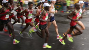 Leading from the front: The shoes cushioned the feet of all three medallists in the men's marathon at the Rio Olympics last summer.