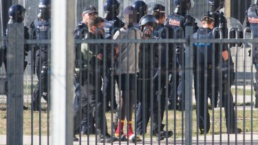 Inmates seen during riots at the Malmsbury Youth Justice Centre on January 25, 2017.