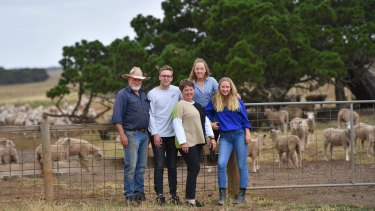 Bain family: David (left), Alexander, Deb, Katherine and Georgia at their Stockyard Hill farm. The only son, Alexander, 21 is studying architecture.