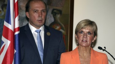 Foreign Minister Julie Bishop and Immigration Minister Peter Dutton at a press conference on the sidelines of the Bali Process meeting. Ms Bishop rejected the view that Indonesia was asking Australia to do more on refugees.