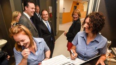New Health Minister Greg Hunt visiting Frankston Hospital on Wednesday.