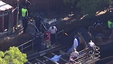 The scene of the tragedy at Dreamworld on the Gold Coast.