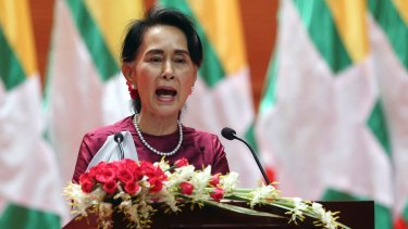 Myanmar's State Counsellor Aung San Suu Kyi delivers a televised speech to the nation on Tuesday.