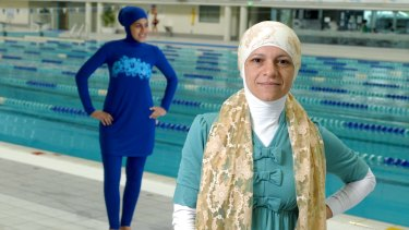 Fashion designer Aheda Zanetti and her burkini, modeled by Farrah Zbib.