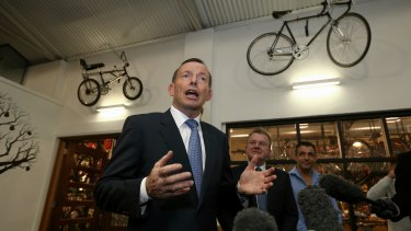 Prime Minister Tony Abbott and Small Business Minister Bruce Billson during a visit to Celestino Cafe in Fyshwick on Wednesday 27 May 2015. Photo: Alex Ellinghausen
