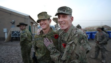Australian soldiers have supported the US in every major war this century, and is the only nation to do so. Commander of our Iraq commitment, Colonel Gavin Keating, with the US Major General Gary J.Volesky, on ANZAC Day 2016.