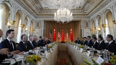 Donald Trump and Chinese President Xi Jinping meet at Mar-a-Lago on April 7.