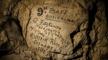 The names of soldiers from Australia's  9th Battalion infantry unit have been found in a cave in northern France.