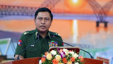 Major General Soe Naing Oo, chairman of the Myanmar's military information committee, at a press conference on Tuesday.