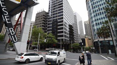 A building on the corner of Elizabeth and Hunter streets in the CBD that will be affected by the construction of the new Sydney Metro stations.