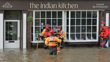 Members of the Mountain Rescue team in Tower Street, York.