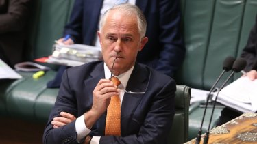 Lover of public transport Prime Minister Malcolm Turnbull during question time at Parliament House in Canberra on Tuesday.
