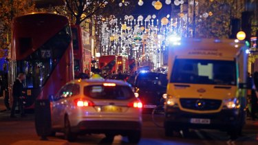 Vehicles block Oxford Street in the west end of London after Oxford Circus station was evacuated.