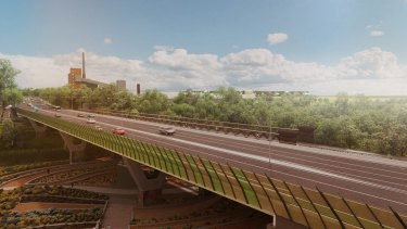 An artist's impression of the plan for a new $110 million six-lane bridge over the Yarra.